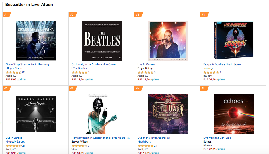 """Live From The Dark Side"" Platz 8 Amazon-Charts"