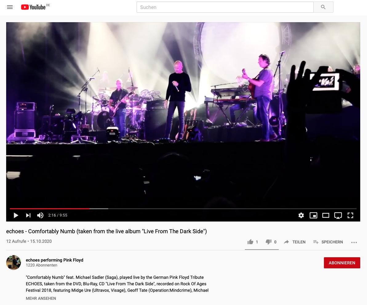 "echoes YouTube - ""Comfortably Numb"" feat. Michael Sadler (SAGA)"